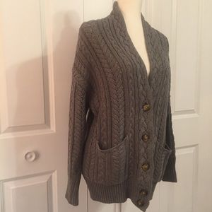 Moda International Sweaters - Charcoal grey cable knit cardigan sweater